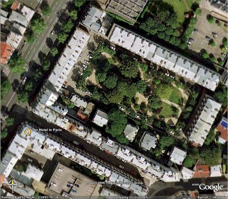 Area near our hotel in Paris, from the air courtesy of Google Earth