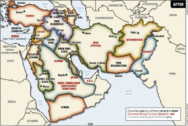 Potential future map of the Middle East
