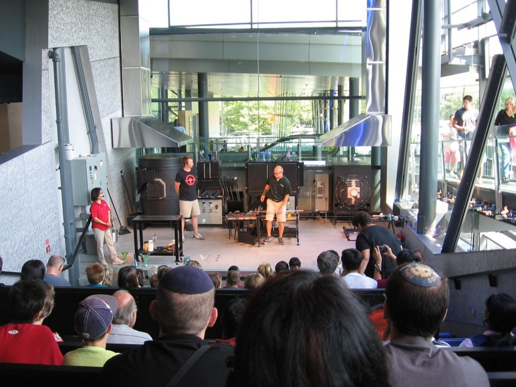 Glass artisans at work at the Corning Museum of Glass