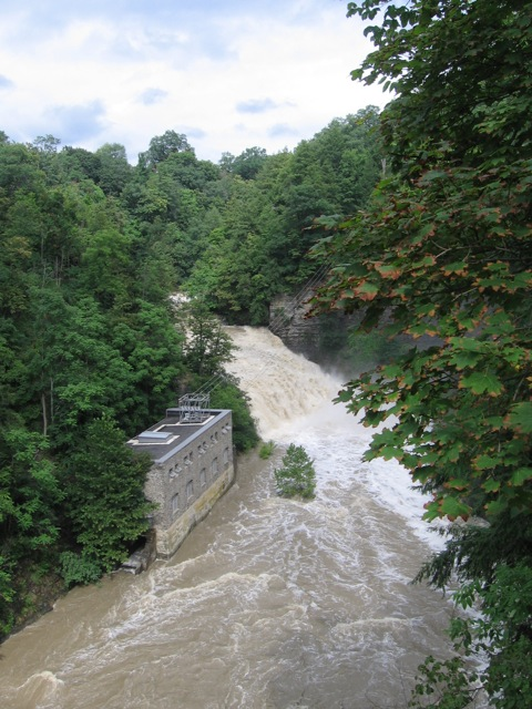 High water on gorge in Ithaca, New York
