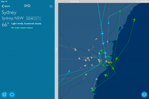 Air traffic near Sydney. Can you find the helicopter?